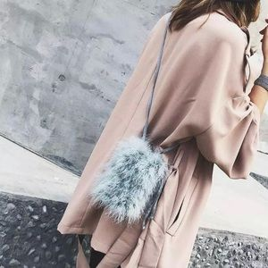 747ee3e8e3ec Handbags - Sky Blue Handmade Mini Ostrich Feather Bucket Bag